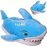 Unbekannt Hausschuhe / Pantoffel -  Hai Fisch mit Zähnen  - Größe Gr. 39 / 40 - inkl. Name __ schön warm __ Plüschhausschuh / Tier - Tiere - für Kinder & Erwachsene -..