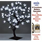 72LED Cherry Blossom Tree Lamp | 8 Mode Functions | 450mm Height & Lead Wire | Bonsai Style | Stable Square Metal Base (Bright White, 72LED/45CM Battery Operated)