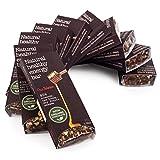 10 Natürliche Rohkost Mandel Schoko Riegel (10 * 45g) - Honig Datteln Rosinen Feigen Sesam - Powerbar - Energie Riegel - Glutenfrei - Ohne Zucker - Ohne Konservierungsstoffe - Bio Schokolade