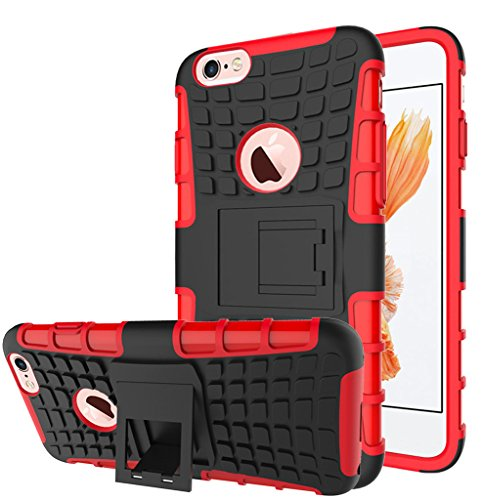 Apple Iphone 6 / 6S Hülle, Nnopbeclik Hybrid 2in1 TPU+PC Schutzhülle Cover Case Silikon Rüstung Armor Dual Layer Muster Handytasche Backcover [Anti-Slip] [Anti-Shock] 360-Grad-Drehung ständer stoßfest Noir