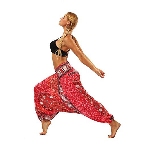 Frauen-beiläufige Sommer-lose Yoga-Hose VENMO Baggy Boho Aladin Overall Pluderhosen Damen Haremshose Ballonhose Pluderhose Yogahose Aladinhose Harem Sommerhose mit Stoffgürtel (Red, ONE Size)