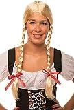 Heidi / Gretel Perücke blond mit Zöpfen und roten Schleifen für Damen und Herren Fasching Karneval