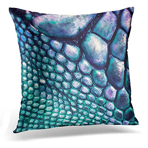 gthytjhv Wurfkissenbezug Colorful Tribal Blue Green Faux Lizard Leather Fabrics Decorative Pillow Case Home Decor Square 18x18 Inches Pillowcase -
