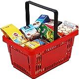 Unbekannt Kunststoff Supermarktkorb mit 20-25 Spielpackungen: Kaufladen Zubehör Lebensmittel EK Korb Kaufmannladen Spielküche Zubehoer