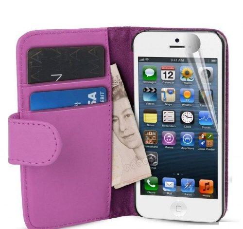 G4Gadget Étui à rabat en simili cuir avec porte-cartes pour Samsung S4 Light Violet