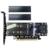 glotrends PA06-HS 4 in 1 m.2 und mSATA SSD Adapter Karte für m.2 nvme und AHCI zu PCIe, m.2 sata-Based SSD zu SATA, mSATA zu SATA,2 x Aluminium Kühlkörper
