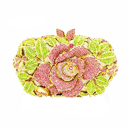 Frauen-Kupplungs-Bling Rose Purse Blume Strass Kristallabendtaschen Pink