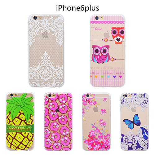 "GrandEver Coque iPhone 6S Transparente Silicone Gel avec Motif Antichoc Kawaii Rigide Souple Bumper Design Ultra Fine One piece Etui Cover Case Housse pour iPhone 6s / iPhone 6 (4.7"") --- Hibou Papillon Bleu"