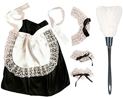Kostüm Hausdame - Panelize Set Kostümset Hausmädchen, Staubwedel, Kopf-, Hals- und Handgelenkschmuck, Rock mit Schürze, Einheitsgröße