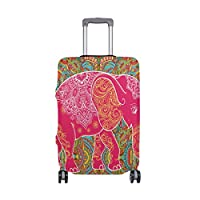 MyDaily Beautiful Elephant Colorful Luggage Cover Fits 18-32 Inch Suitcase Spandex Travel Protector Cover Only