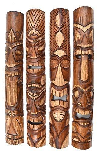 4 Tiki Masken 100cm im Hawaii Style Holzmaske Maske Osterinsel