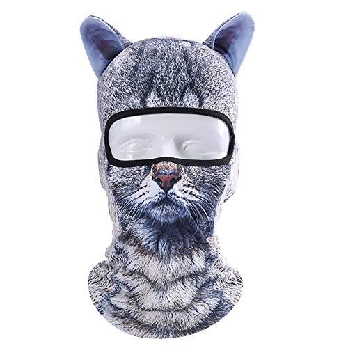 Egosy 3D Tier Muster Gesichtsmaske mit Ohren, Balaclava Sport Maske Sturmhaube für Ski Radfahren Motorrad Halloween Party Geschenk