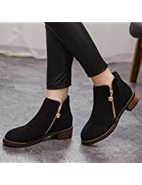 &ZHOU Botas otoño y del invierno botas cortas mujeres adultas 'cargadores de Martin Knight botas a10 , black , eur37