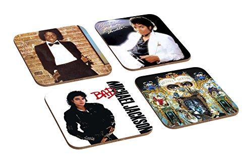 Untersetzer-Set, Michael Jackson Albumcover, Holz, 4Stück