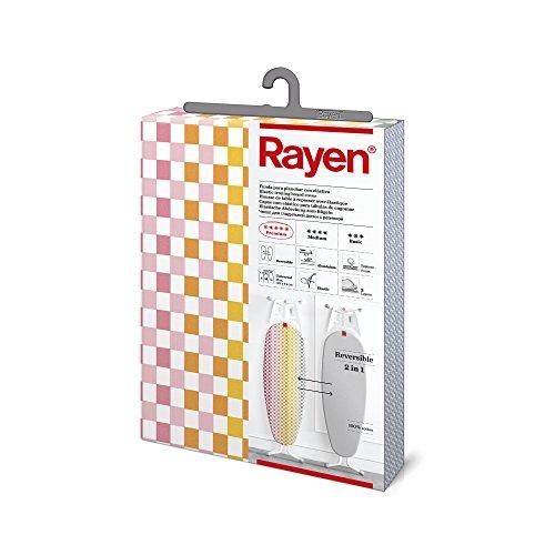 Rayen 6282.01 asse reversibile (fodera da stiro felpata, elastica e facile da collocare), 3 strati: foam, tessuto 100% cotone e ricoprimento in alluminio, grigio, 12.79 cm