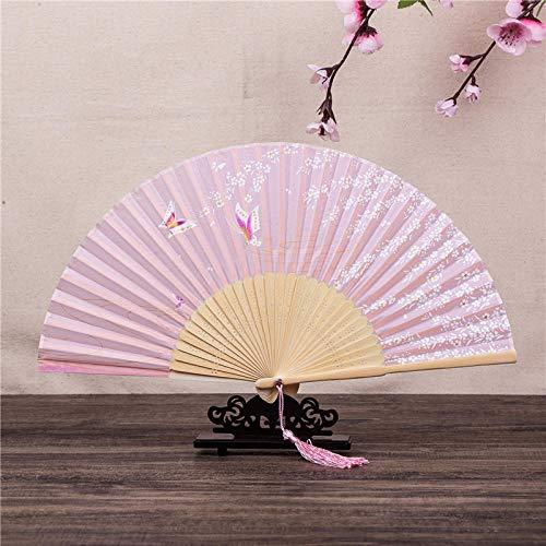 Cherry Kostüm Blossom - XIAOHAIZI Handfächer,Der Sommer Damen Bambus Ventilator Pink Hohlen Cherry Blossom Butterfly Vintage Folding Lüfter Geeignet Für Hochzeit Lady Gift Tanz Ventilator U-Bahn Folding Fan