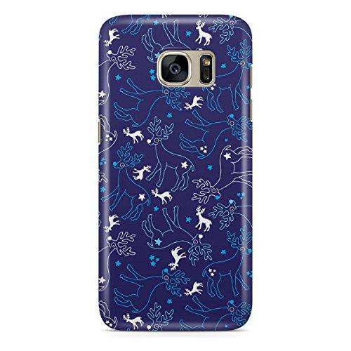 Queen Of Cases Coque pour Apple iPhone 5S Motif renne et flocons de neige-Premium en plastique bleu