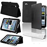 "SAMAR- Samsung Galaxy Tab 3 7.0 Leather Case Cover Flip Stand Plus Screen Protector (for Galaxy Tab 3 7"" INCH) (flip stand BLACK)"