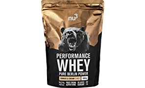 nu3 Performance Whey Protein | 1 kg blend with cookies & cream flavour | whey powder with 74.3% protein per serving | top amino acid profile (BCAA) + isolate protein | sport supplement for muscle grow | low in sugar and carb content | high soluble formula
