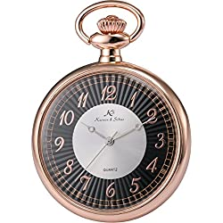 KS Men Women Pocket Watch Open face Series Analog Japanese Quartz Alloy Case Chain KSP058