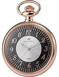 KS KSP058 - Reloj Unisex de Bolsillo de Cuarzo Japonés, Open Face Series