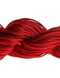 Lot 30 Mètres Fil Nylon Cordon Bijoux 1 mm pour Création Shamballa - Rouge