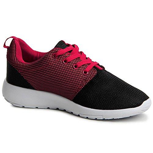 topschuhe24, Sneaker donna Nero (Nero/Rosso)