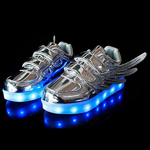XIANV Sport Kinder Schuhe Kinder blinkt LED Schuhe Freizeit Jungen / Mädchen mit Flügel leuchtende Schuhe Silber