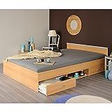 Funktionsbett Alawis 140*200 cm beige buche inkl 2 Roll-Bettkästen Kinderbett Jugendbett Jugendliege Bettliege Bett Jugendzimmer Kinderzimmer