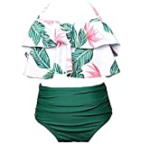 Tomatoa Mädchen Badeanzug Schwimmhose Schöne Bikini Einteiler Badeanzug Teenager Bademode Schwimmanzug Tankini Set Bikini Badebekleidung (Grün, 140)