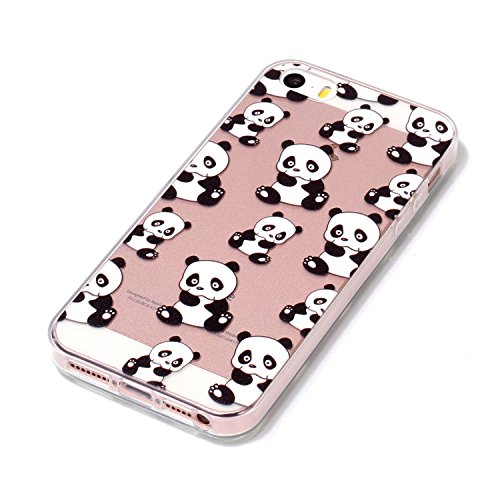 Coquille pour iPhone 5S 5,Souple Silicone Coque pour iPhone SE,Leeook Ultra Mince Créatif 360 Degré Full Body Double Sides 2 in 1 Protecion Transparent Clair Cristal Conception Absorption de Choc Bump Noir Blanc Panda