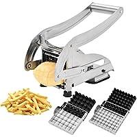 CUGLB Cortador de Patatas Fritas y Verduras con Dos Cuchillas Afiladas de Acero Inoxidable y una Ventosa para Estabilidad