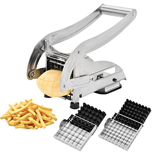CUGLB Pommes Frites Schneider Edelstahl mit Saugfuß und 2 Extra Scharfen Klingen Für dünne oder größere Pommes - Gemüseschneider für Kartoffeln und Obst
