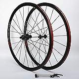 LSRRYD 700C Bicicleta Carretera Rueda Carreras Bicicleta de Carretera Juego de Ruedas 8/9/10/11 Velocidad (Color : Black, Size : 700C)