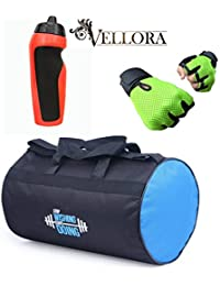 VELLORA Polyester Long Lasting Material, Duffel Gym Bag Blue With Penguin Sport Sipper, Gym Sipper Water Bottle... - B07F2N5VCZ