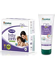 Himalaya Total Care Baby Pants Diapers, Medium, 78 Count and Cream, 200ml Combo