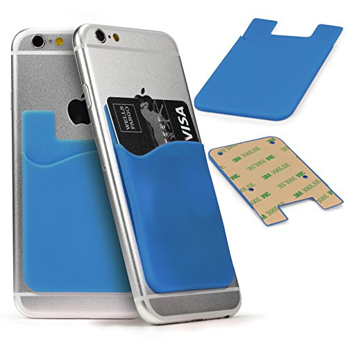 Urcover® Rucksack für Ihr Smartphone, Kreditkarten/Personalausweis Halter zum aufkleben auf die Rückseite Hell Blau