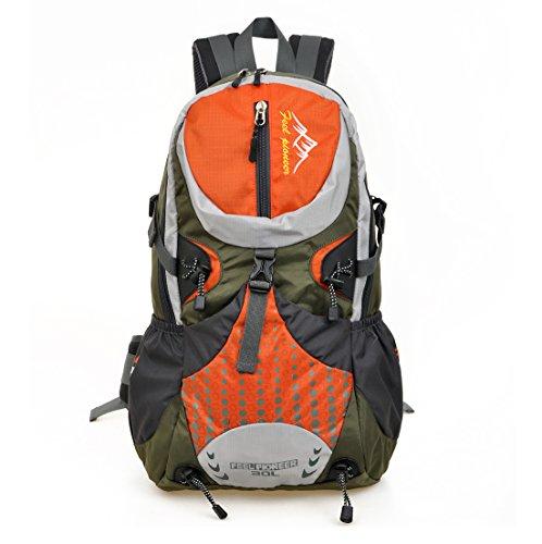 sfeibo 30L nylon impermeabile scuola studenti Zaini moda dot stampato tattico campeggio arrampicata, escursionismo zaino borse da viaggio per laptop da 15,6pollici, Donna uomo, DarkBlue Orange