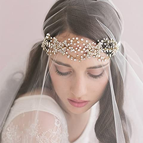 Wedding Bridal Veils, BlueTop Handmade Delicate Luxury Style Wavy Design Bridal Veils and Headpieces with Satin Ribbon Tie Beaded Crystal Pearl Jewelry Rhinestones for Engagement Wedding Cathedral Bridal Hair Accessories Headband by BlueTop