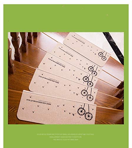 Treppenmatte Anti-Rutsch-Hause Massivholz-Trittmatte Fußmatten rotierende Treppe Teppichmatten aus Kleber selbstklebend {55cm * 20,5cm + 4,5CM * 2St}, Puder