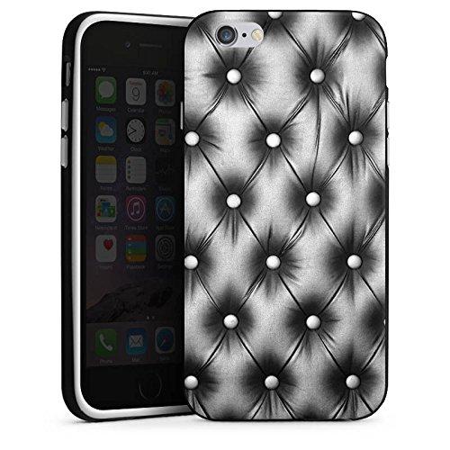 Apple iPhone 5s Housse Étui Protection Coque Sofa Cuir Motif Housse en silicone noir / blanc