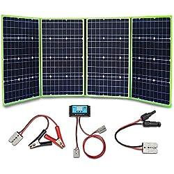 XINPUGUANG Panneau Solaire 200w 4 x 50 watts 12v Chargeur solaire monocristallin 20A double contrôleur pour camper voiture tente camping car 12v charge de la batterie