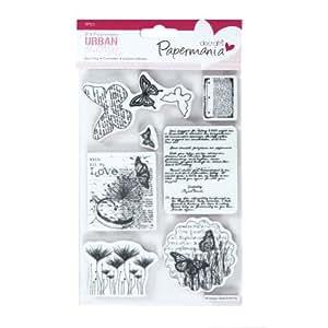 "7pc Botanical Print - 5x7"" Papermania Urban Cling Rubber Stamp Print Craft Set"