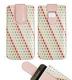 emartbuy Rosa Sterne Premium-Pu-Leder-Slide In Case Abdeckung Tashe Hülle Sleeve Halter (Größe LM3) Mit Zuglaschen Mechanismus Geeignet Für Die Unten Aufgeführten Smartphones