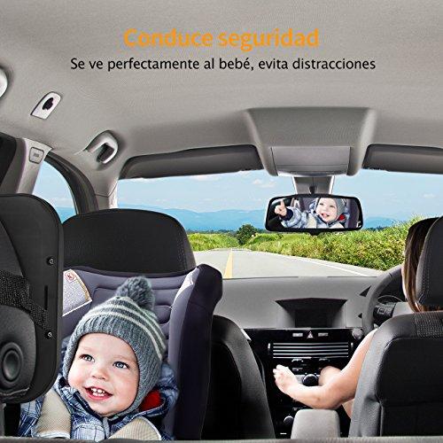 Espejo Retrovisor Coche de VicTsing para Vigilar al Bebé en el Coche,  360° Ajustable Irrompible Interior Espejo Coche Bebé,  para Los Asientos de Niños Orientados Hacia Atrás, 100% Inastillable