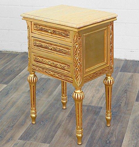 Antikes Bett (Barock Nachttisch Konsole mit 3 Schubladen Antik-Stil Kommode gold Marmor)