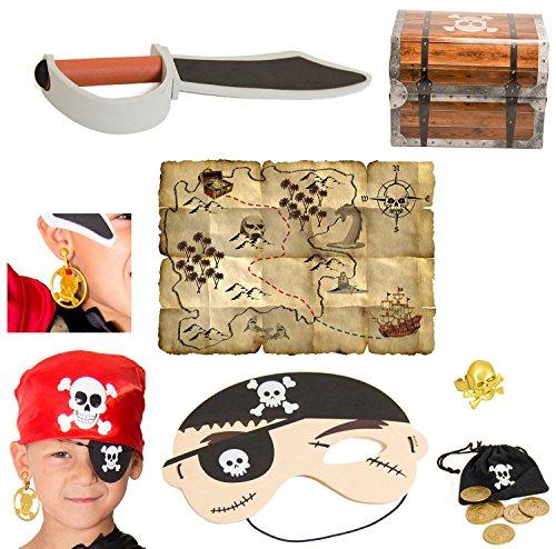 Kinder-Spielzeug Piraten-Set mehr teilig Piratensäbel Augenklappe Piratenkopftuch Piraten-Kostüm Fasching Karneval Schatzkiste 11 Teilig XXL - Schatztruhe Piraten Kostüm