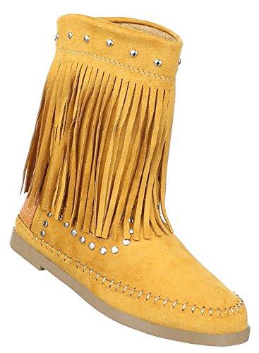 Damen Schuhe Stiefel Boots Mit Fransen Gelb