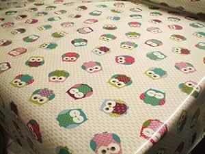 Vintage OWL Multi Wipe Clean COTTON Oilcloth Tablecloth 200cm x 132cm