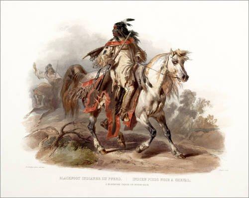 Alu Dibond 100 x 80 cm: Ein Blackfoot Indianer zu Pferd von Karl Bodmer